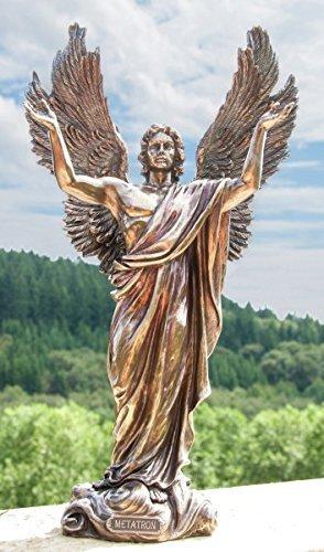 Deko Figur Engel Statue Metatron Engelfürst aus Polystein bronze braun, Höhe 37 cm, Zauberwelt Schutzengel Dekofigur Gartenfigur (Engel Bronze Statue)