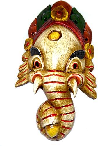 Wandbehang Ganesha Kleine Holzmaske aus Nepal 22x12.5cm (Weiß)