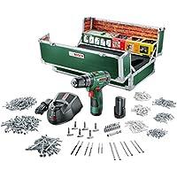 Bosch DIY Akku-Schlagbohrschrauber PSB 10,8 LI-2 Toolbox, 2 Akku, Ladegerät, 508 Zubehörteile, Koffer (10,8 V, 2,0 Ah, Max. Schrauben-Ø 6 mm, Max. Bohr-Ø Stahl/Holz/Stein 8/20/6 mm)