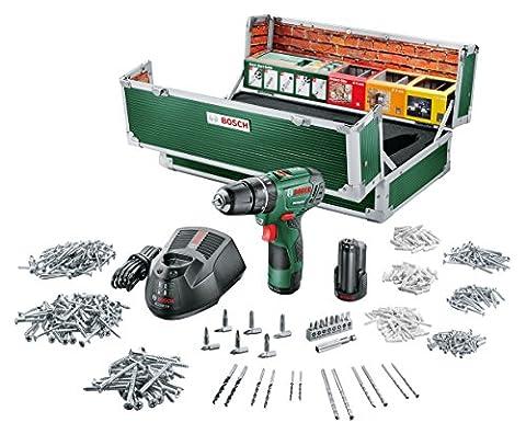 Bosch DIY Akku-Schlagbohrschrauber PSB 10,8 LI-2 Toolbox, 2 Akku, Ladegerät, 508 Zubehörteile, Koffer (10,8 V, 2,0 Ah, Max. Schrauben-Ø 6 mm, Max. Bohr-Ø Stahl/Holz/Stein 8/20/6