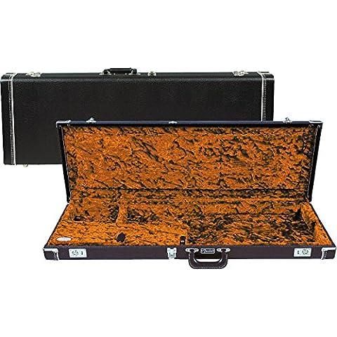 Fender 099–6103–906Deluxe Strat/Tele Case Left Handed, Black senza Orange Plush Interior