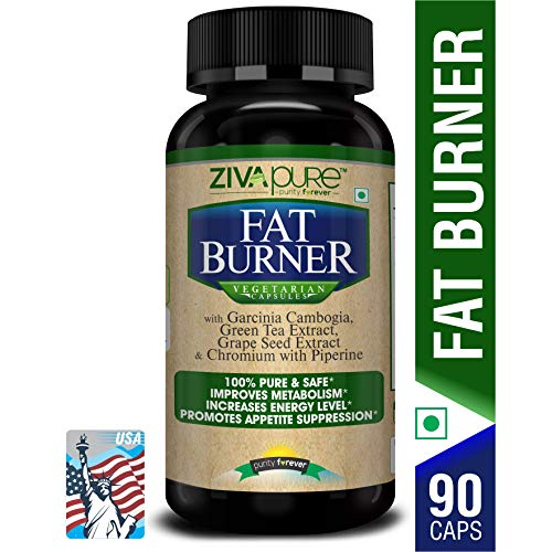 Zivapure Advanced Fat Burner & Natural Weight Loss Supplement for Men and Women with Garcinia Cambogia + Green Tea + Piperine Extract & Chromium - 90 Veg Capsules