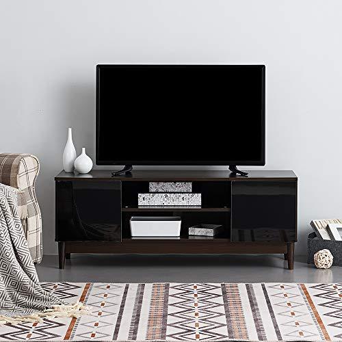 Ruication Moderner TV-Schrank weiß matt Korpus weiß Hochglanz Front TV-Ständer Sideboard Möbel für Wohnzimmer Schlafzimmer Büro 120 cm Brown Body & Black Fronts -