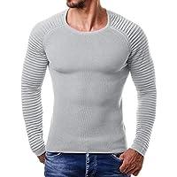 Yvelands Drape Knit Camiseta de Manga Larga Hombre Guapo Personalidad Moda Casual Color sólido a Rayas Cálido Outwear Tops Blusa Vacaciones Otoño Invierno, Liquidación