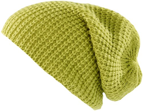 Preisvergleich Produktbild PEARL urban Strickmütze: XXL-Strick-Mütze Long Beanie,  hellgrün (Warme Strickmützen)