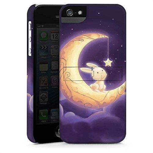 Apple iPhone 5s Housse Étui Protection Coque Levraut Lune Lune CasStandup blanc