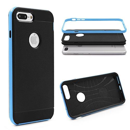 URCOVER® Étui de Protection Bumper Neo Hybrid | Armor-Case | Apple iPhone 7 Plus | Plastique et Silicone Blanc | Coque Double-couche Ultra-mince Housse Anti-chocs Cover Compléte Bleu clair