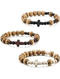 13fdd14f8351d MunkiMix 3 Pièce 10mm Bois Bracelet Poignet Lien Tibétain Bouddhiste Boule Perle  Prière Buddha Mala Croix