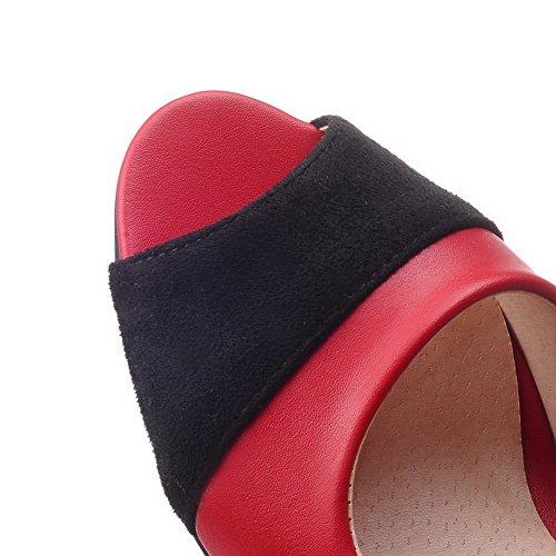 AllhqFashion Femme Tire à Talon Correct Couleur Unie Ouverture D'Orteil Sandales Rouge