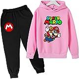 Aatensou Super Mario Bros - Sudadera con capucha y pantalón de chándal para niño con estampado 3D