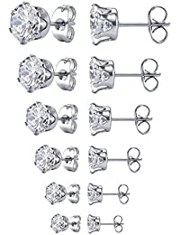 JDGEMSTONE 6 Pairs Stainless Steel Brilliant Stud Earrings Set Clear Cubic Zirconia