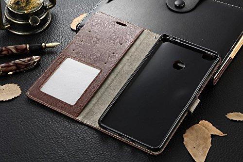 Für Xiaomi Max Case Cover Horizontale Flip Stand Weiche echtes Leder Litchi Texture Case mit Halter & Card Cash Slots & Foto Frame ( Color : Red ) Brown