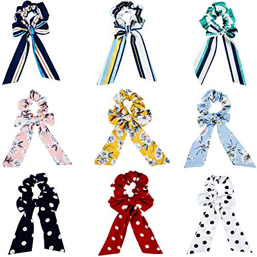 9 Stücke Bogen Haargummis Seide Haargummis Haar Pferdeschwanz Halter Haargummi Krawatten Haarbänder Vintage Zubehör für Damen Mädchen (Häschen Ohr Stil-2) -