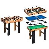 HOMCOM Mesa Multijuegos 4 en 1 Incluye Futbolín Air Hockey Ping-Pong y Billar - Juguete de Madera para Niños y Adultos 87x43x73cm