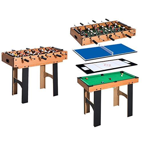 HOMCOM Mesa Multijuegos 4 en 1 Incluye Futbolín Air Hockey Ping-Pong y...