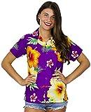 King Kameha Funky Hawaiibluse Hawaiihemd, Kurzarm, Paradise Flowers, Violett, L