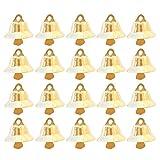Gosear 100pcs 11mm Natale Mini Oro Jingle Campane Ornamenti Decorazioni per Natale Albero Decorativo Bandiera Mestiere