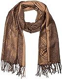 styleBREAKER edler Schal mit Blumen, Paisley, Ornament Muster und Fransen, Damen 01018095, Farbe:Braun-Beige