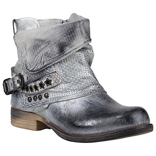 Stulpen Silber Kostüm (Gefütterte Damen Biker Boots Nieten Schnallen Stiefeletten Schuhe 149768 Silber Nieten 40 |)