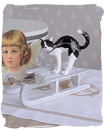 Schmuckdose/Pillendose/Schmuckdöschen/Schmuckschatulle/Dose als liebliche Katze aus Metall und zudem im angesagten Farbergé-Stil - Palazzo Exclusive
