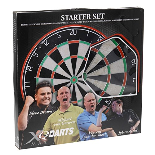 #Darts Dartscheibe 4tlg. Starter-Set 6 Steeldarts Dartpfeile Dartboard Dartspiel#