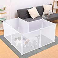 Rackaphile Plastic Pet Playpen Portable Pet Fence for Small-Sized Pets Puppy Kitten Rabbit Bunny Guinea Pig Enclosure Cage Indoor & Outdoor, 8-panel Translucent White