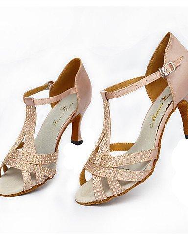 ShangYi Chaussures de danse(Noir / Rose) -Personnalisables-Talon Aiguille-Satin-Latine / Moderne Pink