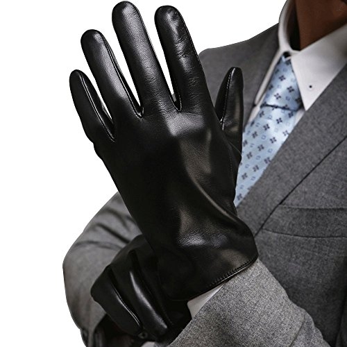 Harrms Herren Winter Handschuhe aus Echtem Leder Touch Screen Gefüttert aus Kaschmir Lederhandschuhe,mit Geschenk Verpackung, Schwarz,L