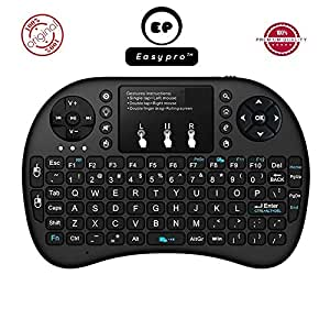 Easypro™ Mini Keyboard with Touchpad 2.4GHz Wireless Entertainment Keyboard with Touchpad for PC, Pad, Andriod TV Box, Smartphone,Google TV Box, Xbox360, PS3 & HTPC/IPTV (Black)