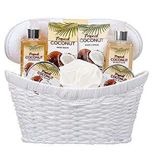 8 Piece Deluxe Tropical Coconut Body & Bath Gift Set – Includes all Bathing Essentials Complete with Large Basket and…