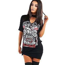 Liqy Womens Ladies Choker V Neck Slogan Printed Turn Up Short Sleeve Summer T-Shirt Top Mini Shirt PJ Dress Outerwear Plus Size 8-26 from Liqy