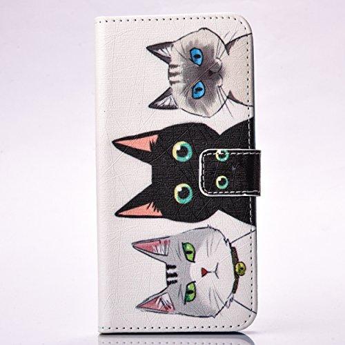 LG G5 Hülle, LG G5 Case,Cozy Hut PU Leder Hülle Flip Wallet Cover in Book Style Stand Case Card Slot leder tasche case Karteneinschub und Magnetverschluß Kratzfestes und schmutzunempfindliches in Schöne drei Katzen Muster Pattern für LG G5 - Drei Katzen (Leder Sockelleisten)