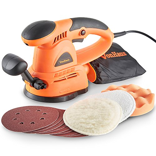 VonHaus 430W 125mm Random Orbit Sander with 3 Polishing Pads & 9 Sanding Pads