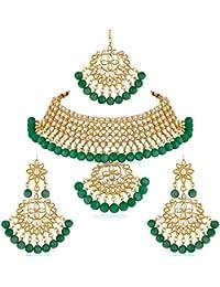 Apara Green Kundan Bridal Wedding Traditional Fashion Necklace Jewellery Set for Women