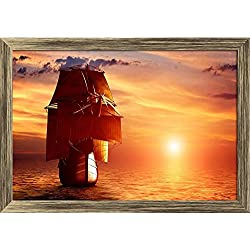 """Lienzo """"Ancient pirate ship sailing on the ocean at sunset""""."""