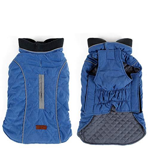 Zusammen Werfen Sie Kostüm - Haustier-Mantel-Jacke-Weinlese-Art-Licht reflektierende Winter-warme Weste mit Gurtloch, Hunde windundurchlässiges kaltes Wetter Mäntel dick , Pet Outfit Kleidung 6colors (Color : Blue, Size : XL)