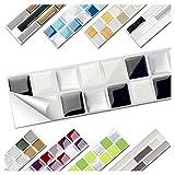 Wandora 1 Set Fliesenaufkleber 25,3 x 3,7 cm Schwarz Weiß Silber Design 1 I 3D Mosaik Fliesenfolie Küche Bad Aufkleber W1536