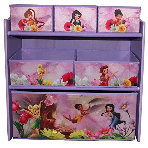 Delta Children\'s Products Disney Fairies Multi Toy Organizer für Spielzeug aus Holz mit Textilschubladen Aufbewahrungsbox mit Schubladen