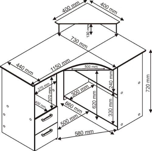 115cm – Eck-Schreibtisch – Computertisch, in buche Möbeldesign Team 2000 – 4505-