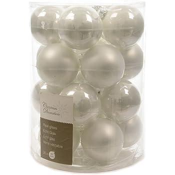 Kugeln Glas Weiß Winterweiß Glaskugeln Weihnachtskugeln Christbaumkugeln  Baumschmuck 20 Tlg