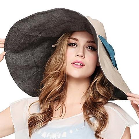 Maitose™ Sun UV des femmes Protection Plage Pêche Brim chapeau à large Beige