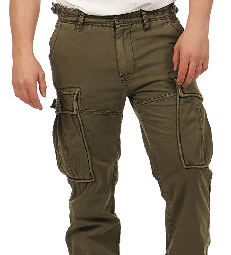 ... Jet Lag Herren Cargo Hose 17-275 Straight-Leg Comfort Fit Black Olive  ...