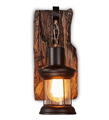 Bronze Marokkanische Wandleuchte (Retro Kreative Holz Eisen Glass Wandlampe Vintage Industrie Stil Wandleuchte Passend Küchen Schlafzimmer Restaurant Hote Foyer Korridor Loft Cafe Wandbeleuchtung Edison E27 Birne (schwarz))