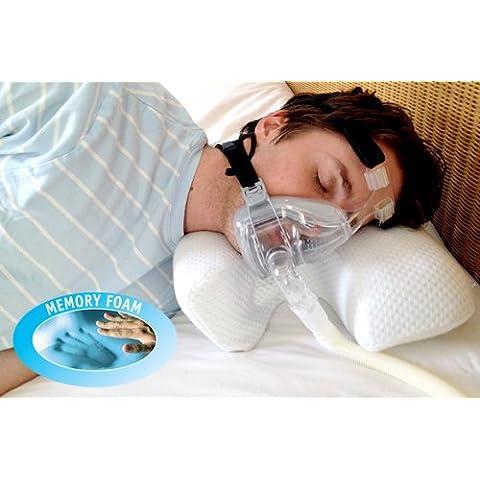 CPAP - Almohada de Memory Foam con Máscarilla para la Apnea del Sueño - Grande, Blanco