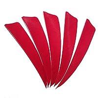 SHARROW 50pcs Plumas para Flechas 4 pulgadas Alas Derechas Pluma Natural Fletching para Tiro con Arco (Rojo)