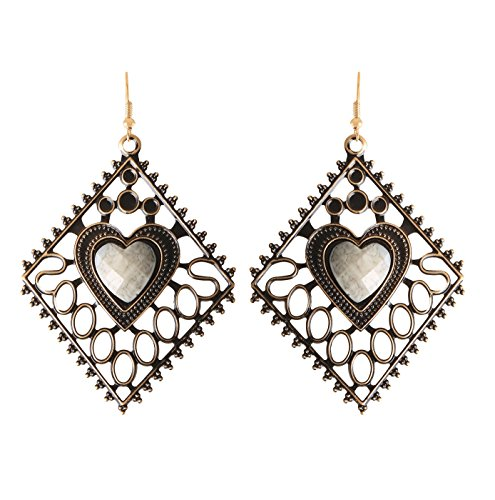 Arittra Antique Design Heart Shape Earring Jalli White Colour ethnic\traditional\tribal\ statement \party style Necklace Set for women and girls-Valentine gift,todays ... ...  available at amazon for Rs.110