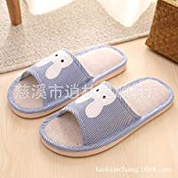 WENNUAN Spring and Summer Home Wood Flooring Linen Slippers Home Indoor Men and Women Cotton and Linen Couple Non-Slip Rabbit Thick Cotton Drag - Dark blue4.5-5.5