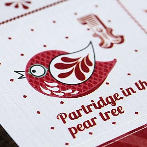 Luck y con colgante en forma de doce días de Navidad Set de adhesivos - calendario de adviento de Navidad Craft x