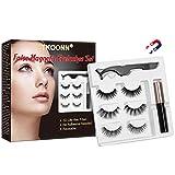 Faux Cils Magnétique,Eyeliner Magnétique Kit,Magnetic Eyeliner 3D Liquides Imperméable,ye Liner Magnetic Waterproof Noir, Avec une Pince à épiler,3 Paires