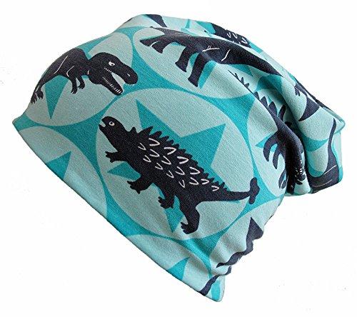 WOLLHUHN ÖKO Long-Beanie, Wende-Mütze, ganzjährig, Farbwahl, mit coolen Dinos und Sternen für Jungen und Mädchen, 20141215 (M: KU 52/54 (ca 3-6 Jahre), Coole Dinosaurier in mint)